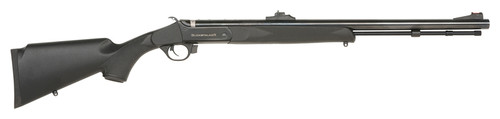 "Traditions Black Powder Buckstalker Accelerator Compact .50 Caliber, 24"" Barrel, Blued, 13"" Length of Pull, Black Stock"