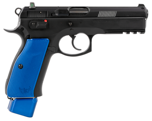 "CZ 75 SP-01 9mm, 4.60"" Bbl,,  Rnd, Black Slide, Blue Henning Grips,  22 rd"
