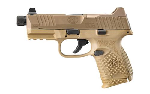 "FN FN509 Compact Tactical 9mm, 4.3"" Threaded Barrel, Flat Dark Earth, Suppressor-Height Night Sights, Optics Ready, 3x10rd Mags"