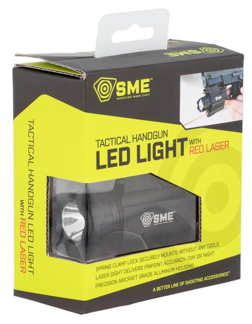 SME Tactical Handgun Light White Red Laser,  Cree LED 250 Lumens, CR-123 Battery, Black Aluminum