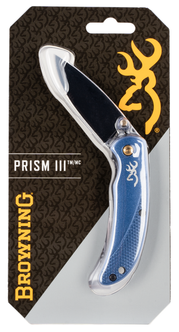 "Browning Prism II 2.40"" 7Cr17MoV Stainless Steel Drop Point Aluminum Navy Blue Handle Folder"