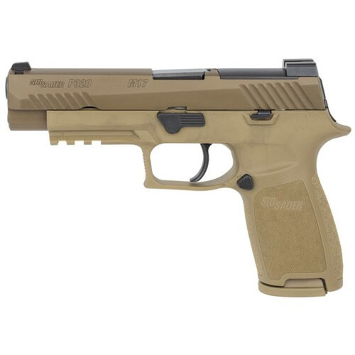 "Sig P320-M17 9mm, 4.7"" Barrel, No Manual Safety,  Coyote, Mag Coupon, 1x 17rd"