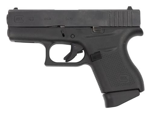 "Glock 43 USA Used 9mm, 3.39"" Barrel, Contrst Sights, Black, 6rd"