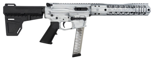 "Black Rain Fallout CQB Pistol 9mm, 7.5"" Barrel, Blade Brace, Battleworn White, 30rd"