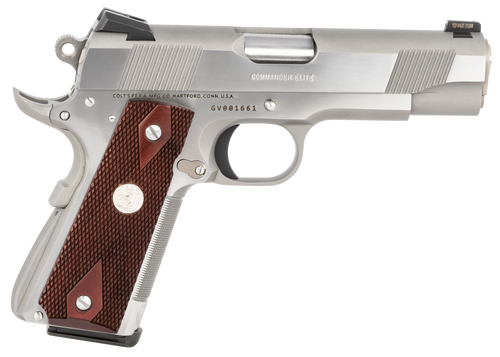 "Colt 1911 Combat Commander Elite 45 ACP 4.25"" Barrel Two-Tone Elite Black G10 Checkered Scallop Grip, 8rd Mag"