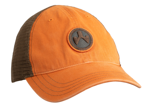 Magpul Icon Patch Garment Washed Trucker Hat, Orange/Brown, One Size Fits Most
