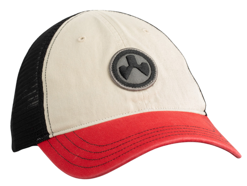 Magpul Icon Patch Garment Washed Trucker Hat, Stone/Black/Red, One Size Fits Most