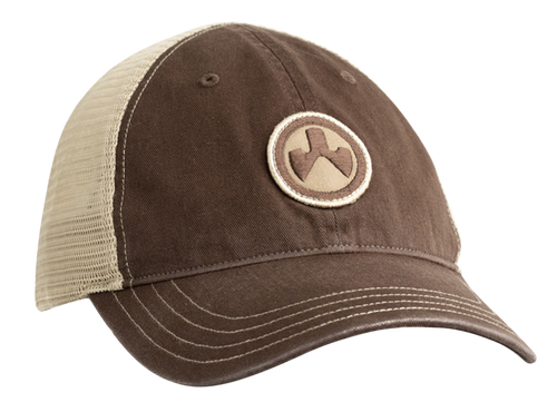 Magpul Icon Patch Garment Washed Trucker Hat, Brown/Khaki, One Size Fits Most