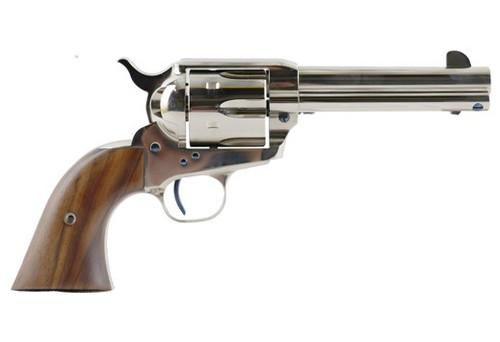 """Standard Mfg Single Action Revolver 45 Colt 4.75"""" Barrel, Nickel Plated, Walnut 1 Pc Grip"""