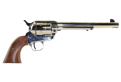 """Standard Mfg Single Action Revolver 45 Colt 7.5"""" Barrel, Nickel Plated, Walnut 2 Pc Grip"""