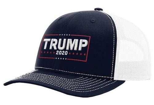 KICKS TRUMP IN 2020 RCH 112 MESH BACK BALL CAP NAVY/WHITE MESH BACK