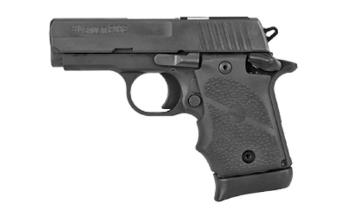 "Sig P938, SAS, Single Action Only, Compact, 9mm, 3"" Barrel, Alloy Frame, Black Hard Coat Anodized Finish, Rubber Grips, Night Sights, 7Rd, 1 Magazine"