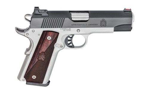 "Springfield Ronin Operator 1911, Full Size, 9mm, 4.25"" Barrel, Blued Slide, Satin Aluminum Cerakote Steel Frame, Wood Grips, 9 Round, Fiber Optic Front Sight"