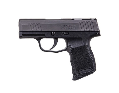 "Sig P365 SAS 9mm, 3.1"" Barrel, Black, Fiber-Tritium Night Sight, 10rd Flush, 10rd Extended Mag"