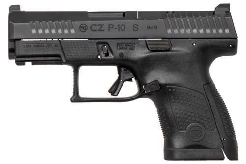 """CZ P-10S, Semi-automatic, Striker Fired, Sub-Compact, 9mm, 3.5"""" Barrel, Polymer Frame, Black Color, Nitride Finish, Ambidextrous, Trigger Safety, Fixed Sights, 12Rd, 2 Magazines"""