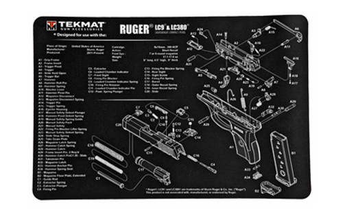 """TekMat Ruger LC9 Pistol Mat, 11""""x17"""", Black, Includes Small Microfiber TekTowel, Packed In Tube"""