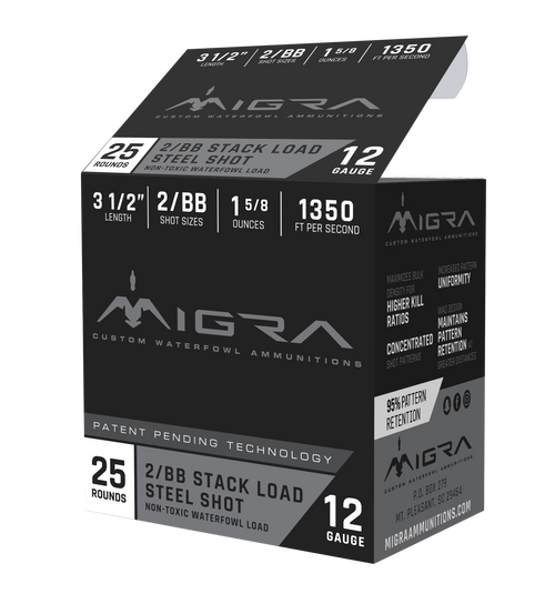 "Migra Combinational 12 Ga, 3.50"", 1 5/8oz, 2-BB Shot, 25rd Box"