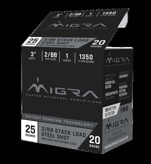 "Migra Combinational 20 Ga, 3"", 1oz, 2-BB Shot, 25rd Box"