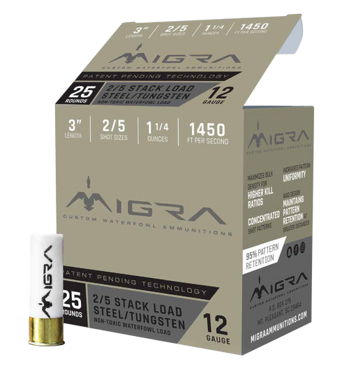 "Migra Combinational Tungsten 12 Ga, 3"", 1 1/4oz, 2-5 Shot, 25rd Box"