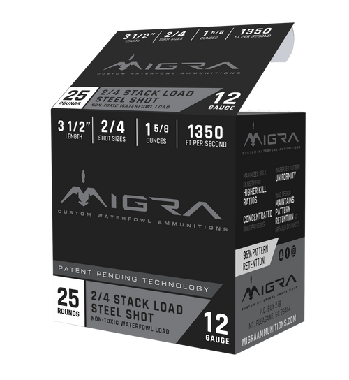 "Migra Combinational 12 Ga, 3.50"", 1 5/8oz, 2-4 Shot, 25rd Box"