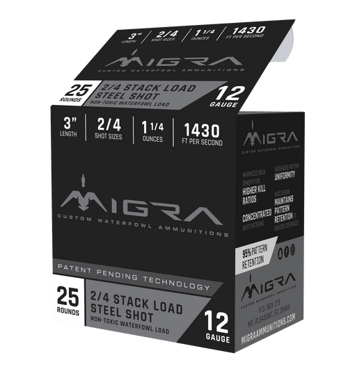 "Migra Combinational 12 Ga, 3"", 1 1/4oz, 2-4 Shot, 25rd Box"