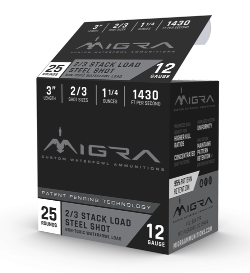 "Migra Combinational 12 Ga, 3"", 1 1/4oz, 2-3 Shot, 25rd Box"