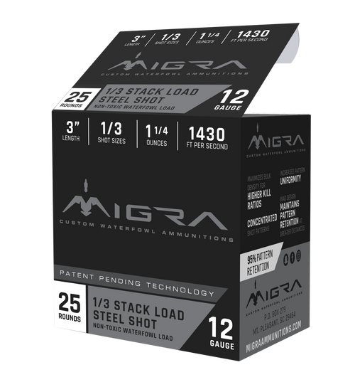 "Migra Combinational 12 Ga, 3"", 1 1/4oz, 1-3 Shot, 25rd Box"