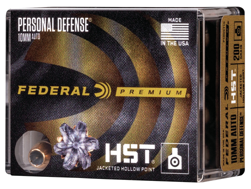 Federal Personal Defense 10mm Auto 200gr, HST Jacketed Hollow Point, 20rd Box