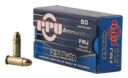 PPU Handgun 25 ACP 50gr, Full Metal Jacket, 50rd Box