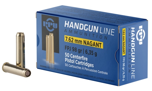 PPU Handgun 7.62x38mmR Nagant 98gr, Flat Point Jacketed, 50rd Box