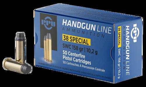 PPU Handgun 38 Special 158gr, Semi-Wadcutter, 50rd Box