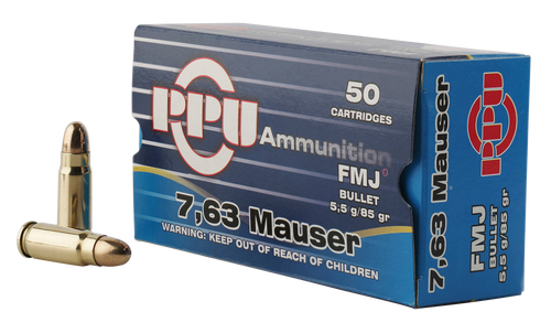 PPU Handgun 7.63mm Mauser 85gr, Full Metal Jacket, 50rd Box