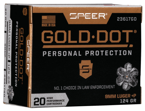 Speer Ammo Gold Dot Personal Protection 9mm +P 124gr, Hollow Point, 20rd Box