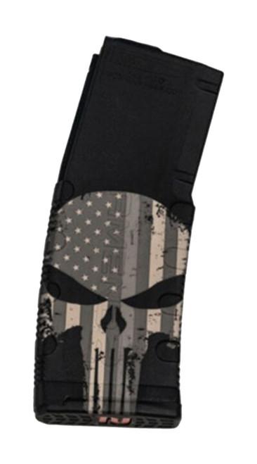 Black Rain Ordnance 5.56/.223 Magazine, 30rd, Black, Punisher /W Flag Etching