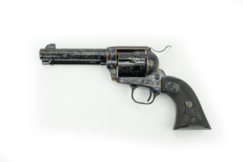 "Colt Single Action Army 45 Colt/45 ACP Two Cylinder, Custom Shop, 4.75"" Barrel, Blued, Engraved ""D"" Level, Color Case Hardened, Black Double Eagle Grip, 6rd"