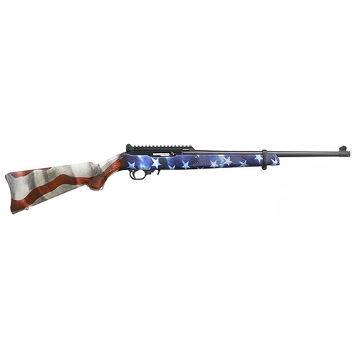 """Ruger 10/22, Carbine, 22 LR, 18.5"""" Threaded Barrel, Black Color, Satin Finish, Adjustable Ghost Ring Rear Sight, Protected Blade Front Sight, American Flag Synthetic Stock, 10Rd"""