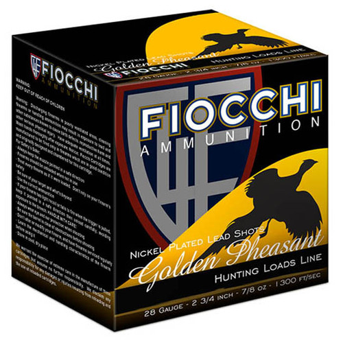 "Fiocchi Golden Pheasant Nickel Plated 28 Ga, 3"", 1 1/16oz, 5 Shot, 25rd Box"