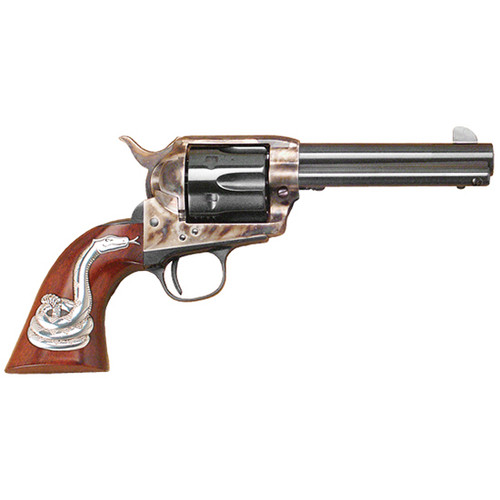"Cimarron Man With No Name 45 Colt, 4 3/4"" Barrel, Color Case-hardened, Snake Right Side"