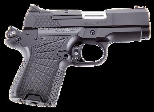 "Wilson Combat, EDCX9S, Sub-Compact, 9mm, 3.25"" Barrel, Black Armor Tuff Finish, Green Fiber Optic Sights, Manual Safety, Non-Lightrail, 10Rd"