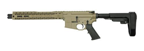 """Black Rain Ordnance Fallout15 Pistol, .223/5.56, 10.5"""" Barrel, SBA3 Brace, FDE, 30rd"""