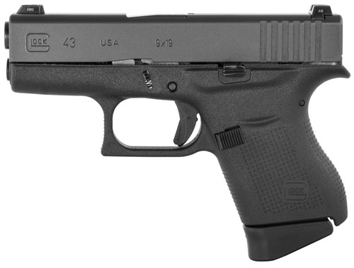 "Glock G43 Subcompact 9mm, 3.41"" Barrel, Glock Night Sights, Black, 6rd"