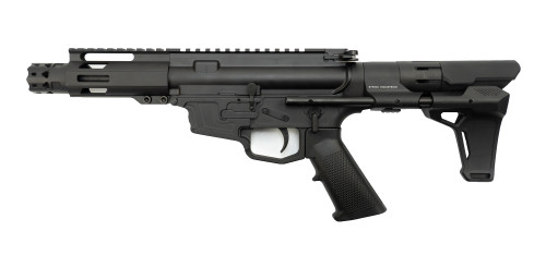"MCM DS9-S 9mm Rear Charging Pistol, 5"" Barrel, MP5 Mag, Strike Industries PWD Brace, Black Cerakote"