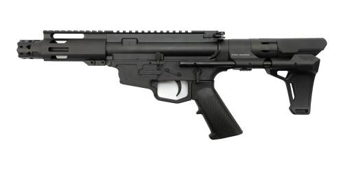"MCM DS9-S 9mm Rear Charging Pistol, 5"" Barrel, MP5 Mag, Strike Industries PWD Brace, Black Cerakote"