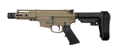"MCM DS9-S 9mm Pistol, Rear Charging, 5"" Barrel, MP5 Mag, FDE Cerakote"