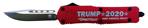 "CobraTec Knives FS-3 3"" Drop Point Plain Aluminum Red Cerakote & Trump 2020 Engraved Handle"