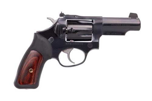 """Ruger SP101 .357 Magnum, 3"""" Blued Half Lug Barrel, 5rd, Black Rubber Grips W/Wood Insert"""