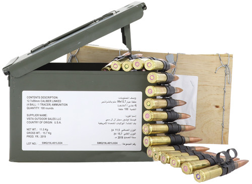 Federal Ammo .50 BMG M33 Ball M17 Tracer, 4:1 Linked, 100rd