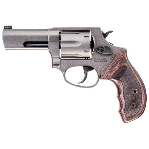 """Taurus 856 Defender 38 Spl + P 6rd 3"""" Stainless Cerakote Cylinder Tungsten Cerakote Frame Altamont Wood Grip"""