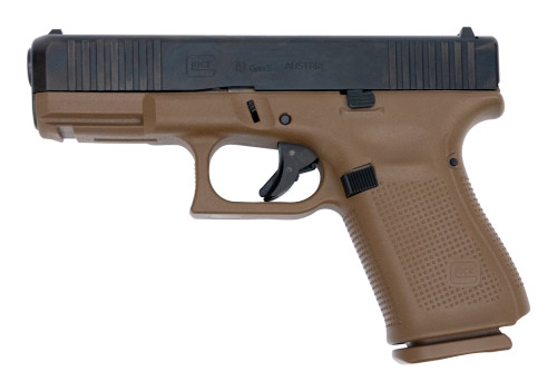 "Glock 19 Gen5 AUS 9mm, 4"" Barrel, Fixed Sights, Flat Dark Earth, 15rd"