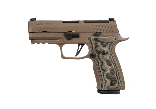 "Sig Sauer, P320 AXG Scorpion, Custom Works, Striker Fired, 9mm, 3.9"" Barrel, AXG Modular Aluminum Grip, Flat Dark Earth, Optic Ready Compatible with Delta Point PRO and ROMEO1 PRO Optics, X-Ray 3 Night Sights, 17Rd, 3 Magazines"